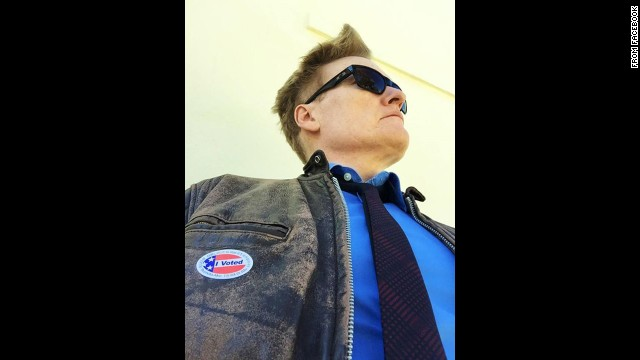 """""""I just voted, and now I look to the horizon with confidence,"""" said Conan O'Brien <a href='https://www.facebook.com/teamcoco/photos/a.109915929067298.5766.108905269168364/795301547195396/?type=1&amp;theater' target='_blank'>on his show's Facebook page.</a>"""