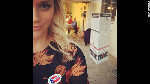 """Just voted!"" actress Reese Witherspoon <a href='http://instagram.com/p/vAAWiZChUq/?modal=true' target='_blank'>said on Instagram.</a> ""Gotta love the USA and these nice people who opened their home and volunteered all day at the polls!"""