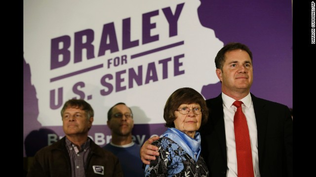 Braley hugs his mom, Marcia, before addressing supporters in Des Moines, Iowa, on November 4.