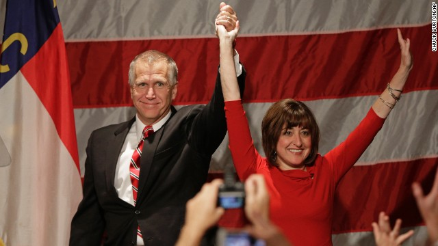 North Carolina House Speaker Thom Tillis and his wife, Susan, celebrate his win over incumbent Democractic Sen. Kay Hagan in Charlotte, North Carolina, early Wednesday, November 5.