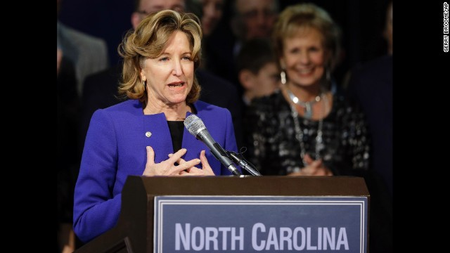 Hagan gives her concession speech in Greensboro on Tuesday, November 4.