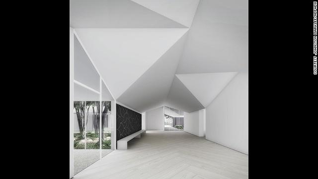 Interior of Menil Drawing Institute.