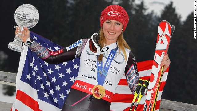 Shiffrin ended a triumphant 2014 season by winning the overall World Cup title and the crystal globe in slalom.
