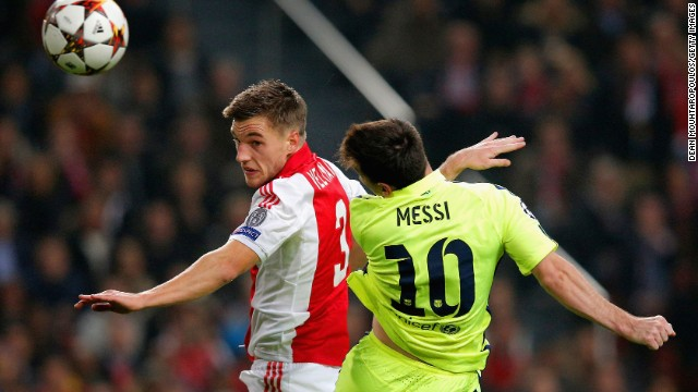 Messi's opening goal for Barcelona in its contest with Ajax was a header -- only the fourth he's scored in that Champions League tally of 71.