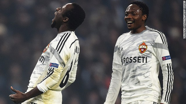 English Premier League champions Manchester City sank to the bottom of its group after a shock 2-1 home defeat at the hands of CSKA Moscow. Seydou Doumbia (L) scored twice as the Russians registered a first win on English soil.