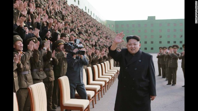 A picture released by the North Korean Central News Agency shows Kim appearing without his cane at an event with military commanders in Pyongyang on Tuesday, November 4. Kim, who recently disappeared from public view for about six weeks, <a href='http://www.cnn.com/2014/10/28/world/asia/kim-jong-un-cyst/index.html'>had a cyst removed</a> from his right ankle, a lawmaker told CNN.
