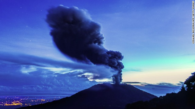 The Turrialba volcano in Costa Rica spews ash on November 1.