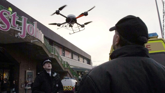Most early drones had military or police uses. In 2007, British police in Liverpool used this drone to capture the anti-social behavior of festive revellers during the holiday season.