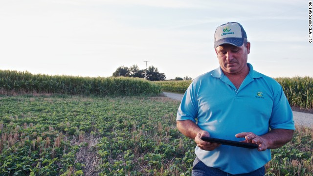 Pat Worland of Worland Farms in Vincennes, Indiana, consults the data on his fields.