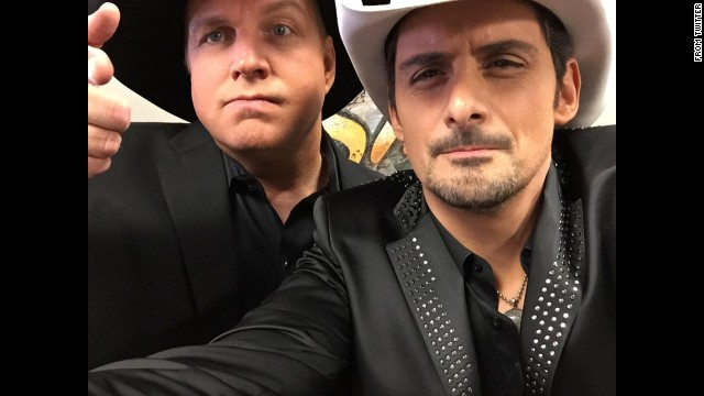 """At the Country Music Awards on Wednesday, November 5, singer Brad Paisley announced the sex of Carrie Underwood's baby. It appears Underwood and her husband, hockey player Mike Fisher, are having a boy. Later that night, Paisley, right, <a href='https://twitter.com/BradPaisley/status/530176728144945152' target='_blank'>tweeted this selfie</a> with Garth Brooks. """"Wanna see my Garth selfie just before I let the cat out of the bag?"""" he asked. """"Lil' Garth Fisher. Just sayin'!"""""""