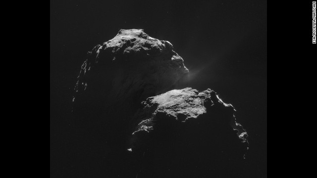 This mosaic is made of four individual images taken 31.8 kilometers (about 20 miles) from the center of Comet 67P/Churyumov-Gerasimenko on November 4.