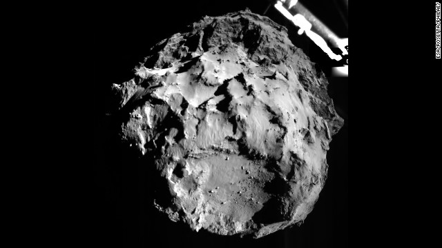 Rosetta's lander Philae captured this image during its descent to the comet from a distance of 3 kilometers (1.8 miles) from the surface on Wednesday, November 12.