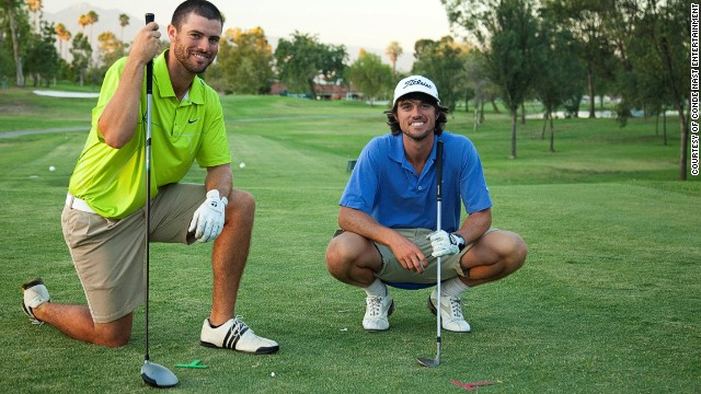 U.S. pro golfers George (right) and Wesley Bryan started making trick shot videos earlier this year.