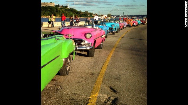 "HAVANA, CUBA: ""A row of classic cars rented for a wedding lined up on the malecon this evening."" - CNN's Patrick Oppmann. Follow Patrick (<a href='http://instagram.com/cubareporter' target='_blank'>@cubareporter</a>) and other CNNers along on Instagram at <a href='http://instagram.com/cnn' target='_blank'>instagram.com/cnn</a>."