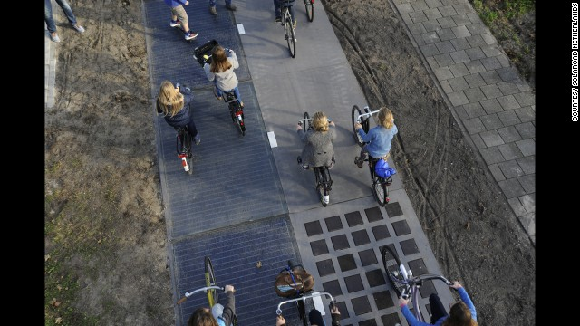 The path is made of concrete modules with solar cells and covered with a thin layer of tempered glass.