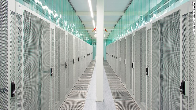 A long row of server cabinets pictured at Verne Global in Keflavik, Iceland.