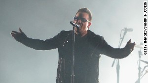 Bono performs during MTV\'s Europe Music Awards on November 9 in Glasgow, Scotland.