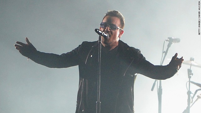 Bono performs on stage at the MTV EMAs 2014 at The Hydro on November 9 in Glasgow, Scotland.