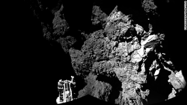 NOVEMBER 13 - COMET 67P: The surface of Comet 67P/Churyumov-Gerasimenko, as seen from the European Space Agency's Philae lander, the<a href='/2014/11/13/world/comet-landing/index.html' target='_blank'> first spacecraft to make a controlled -- if bouncy -- landing on a comet</a>. The lander, sent from its mothership Rosetta, lost contact with scientists on Earth overnight, but has since begun sending back images and data.