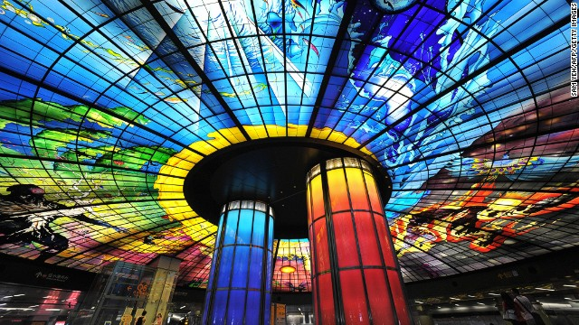 Half kaleidoscope, half metro station, Kaohsiung, Taiwan's, Formosa Boulevard station features the world's largest glass artwork.