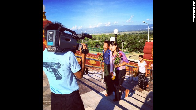 "NAYPYITAW, MYANMAR: ""Newly-weds filmed by wedding cameraman as they ascend the steps of Myanmar capital's biggest Buddhist Pagoda."" - CNN's Ivan Watson, November 13. Follow <a href='http://instagram.com/ivancnn' target='_blank'>@ivancnn</a> along on Instagram for more captures from Myanmar."