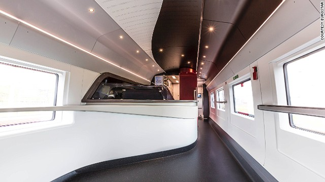 "There is also a newly designed buffet car. Rounded edges and a cool, white color scheme lend the car an air of ""chic"", according to Eurostar chief executive Nicolas Petrovic."