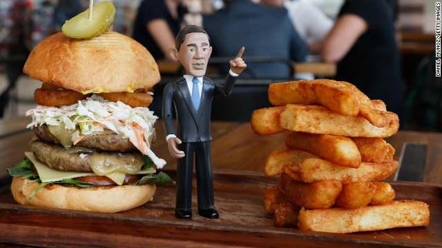 """The """"Big Obama Burger"""" created by Windmill & Co. includes two A..."""