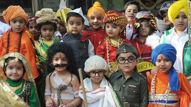 NOVEMBER 14 - AMRITSAR, INDIA: Children dress up as key figures in Indian history for Children's Day celebrations at a school. The event coincides with the anniversary of the birth of India's first Prime Minister, Jawaharlal Nehru.
