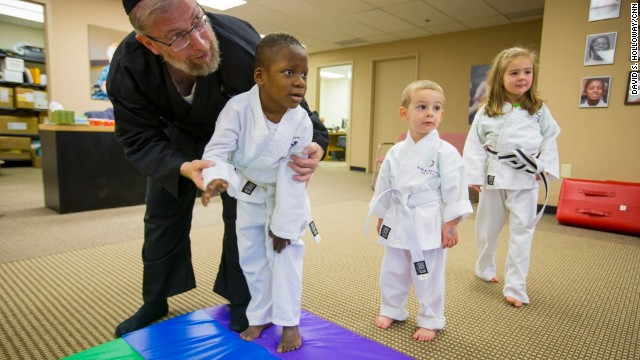 Goldberg teaches at the Kids Kicking Cancer Center in Detroit.
