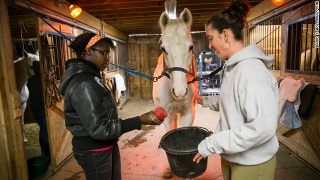 Program participants groom horses at the center.