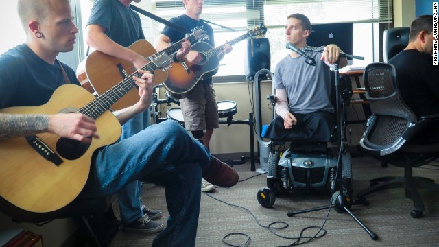 The MusiCorps Wounded Warrior Band rehearses at Walter Reed National Military Medical Center in Bethesda, Maryland.
