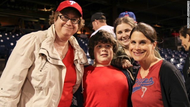Ross, far right, partnered with the Philadelphia Phillies in 2012 to develop a program through which game-day employees learn about autism and how to interact with individuals on the spectrum so that families feel supported during baseball game outings.