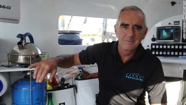 Peyron shows the living quarters on Bank Populaire VII ahead of his single handed tilt at the Route du Rhum.