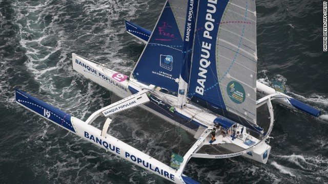 Taking the helm of a giant 103-ft trimaran like Banque Populaire VII is a daunting task for a solo sailor.