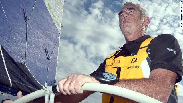 Loick Peyron at the helm of the trimaran Banque Populaire ahead of winning the Route du Rhum single handed transatlantic race in a record time.
