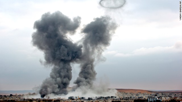 Smoke rises from Kobani following airstrikes on November 17. The United States and several Arab nations have been bombing ISIS targets to take out the group's ability to command, train and resupply its fighters.