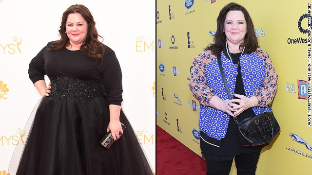 We love Melissa McCarthy for being beautiful and confident no matter what, though the actress was noticeably slimmer when she stepped out for the P.S. ARTS event in Santa Monica on November 16. McCarthy, seen on the left at the Emmy Awards in August, reportedly followed a low-carb diet to drop 45 pounds.