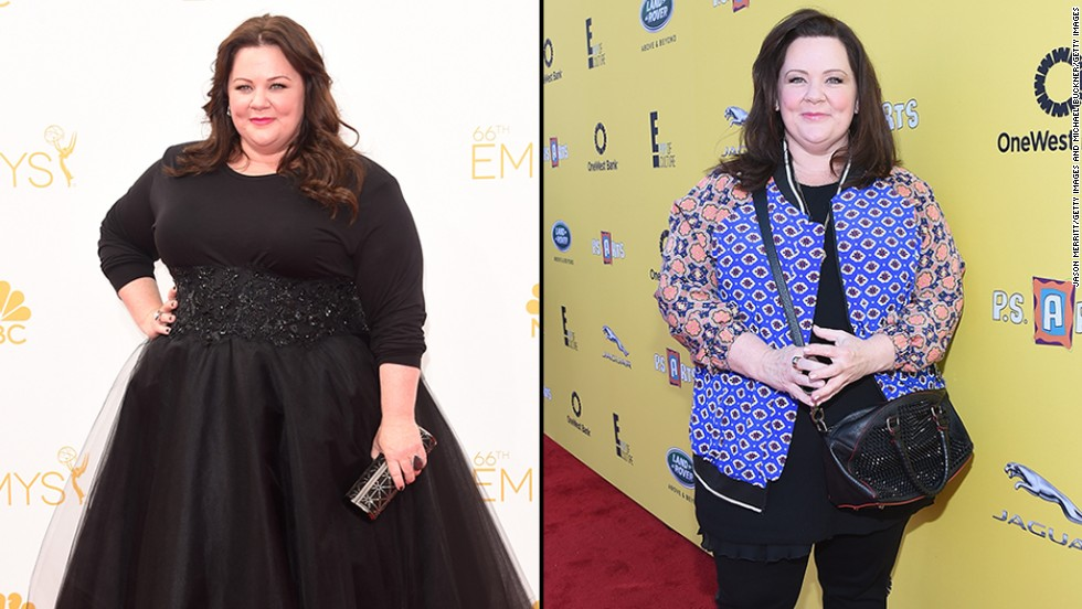 We love Melissa McCarthy for being beautiful and confident no matter what, though the actress was noticeably slimmer when she stepped out for the P.S. ARTS event in Santa Monica on November 16. McCarthy, seen on the left at the Emmy Awards in August, reportedly followed a low-carb diet to <a href='http://www.shape.com/blogs/fit-famous/melissa-mccarthys-incredible-weight-loss' target='_blank'>drop 45 pounds. </a>