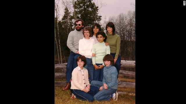 "The ""Original 7"" (as my mom, Ainslie, likes to call us now) take a family portrait in the 1980s in British Columbia"