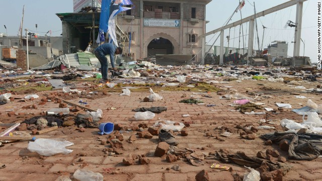 Debris is strewn around Rampal Maharaj's ashram. Police clashes with the guru's supporters as they tried to arrest him.