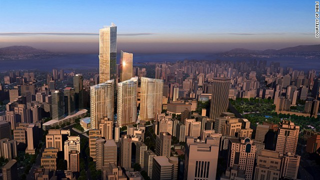 <strong><i><u>Name:</u></i></strong> Dalian Eton Place Tower 1<!-- --></br><!-- --></br><strong><i><u>Location: </u></i></strong>Dalian, China<!-- --></br><!-- --></br><strong><i><u>Height:</u></i></strong> 383.1 meters (1,257 feet)<!-- --></br><!-- --></br><strong><i><u>Description:</u></i></strong> The tallest building in a complex of sparkling new buildings, Dalian Eton Place Tower 1 will rank among China's tallest buildings when completed and contain space for apartments, offices, retail space and entertainment facilities.