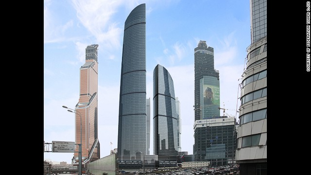 <strong><i><u>Name:</u></i></strong> Vostok Tower (Federation Towers)<!-- --></br><!-- --></br><strong><i><u>Location:</u></i></strong> Moscow, Russia<!-- --></br><!-- --></br><strong><i><u>Height: </u></i></strong>373.2 meters (1,224 feet)<!-- --></br><!-- --></br><strong><i><u>Description:</u></i></strong> The first of two giant new Moscow towers to be completed in 2015, the Vostok Tower is the tallest building in the Federation Building complex that began as far back as 2003.