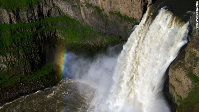 Mexican kayaker Rafa Ortiz drops over the 189-foot Palouse Falls in southeast Washington. He was the second person ever to paddle over the edge. American Tyler Bradt set a world record in 2009 when he successfully kayaked the falls.