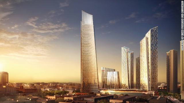 <strong><i><u>Name:</u></i></strong> Forum 66 Tower 2<!-- --></br><!-- --></br><strong><i><u>Location: </u></i></strong>Shenyang, China<!-- --></br><!-- --></br><strong><i><u>Height:</u></i></strong> 350.6 meters (1,150 feet)<!-- --></br><!-- --></br><strong><i><u>Description:</u></i></strong> Forum 66 is a twin tower complex currently being built in Shenyang, northeastern China. Tower 1 will be the taller of the buildings rising to 350.6 meters.