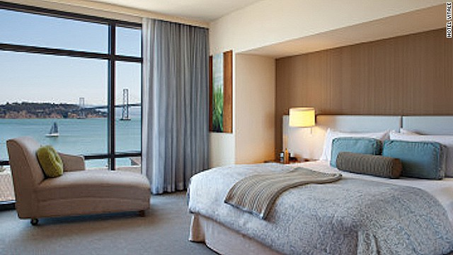 Guests booked into San Francisco Vitale's water-view king room get amazing views of the bay.