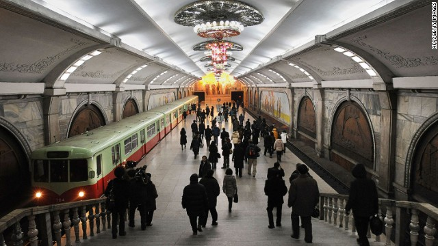 Life might be grim in North Korea, but Pyongyang's metro stations aren't. Their opulence contrasts with the city's drab realities.