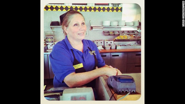 "LEXINGTON, KY: ""We have pretty horses and fast women. I'm not. But see I'm more Tennessee than I am Kentucky. I've been with Waffle House for more than 28 years. I don't like working anywhere else. People need to learn that just because you drive a fine car - a Beamer, a Corvette - doesn't mean you are better than anybody else. When you're entering the pearly gates of heaven it doesn't matter what you look like or who you are. We are all judged the same."" - Mae Agee, 52. Photo by CNN's Evelio Contreras. Follow Evelio (<a href='http://instagram.com/eveliocontreras' target='_blank'>@eveliocontreras</a>) and other CNNers along on Instagram at <a href='http://instagram.com/cnn' target='_blank'>instagram.com/cnn</a>."
