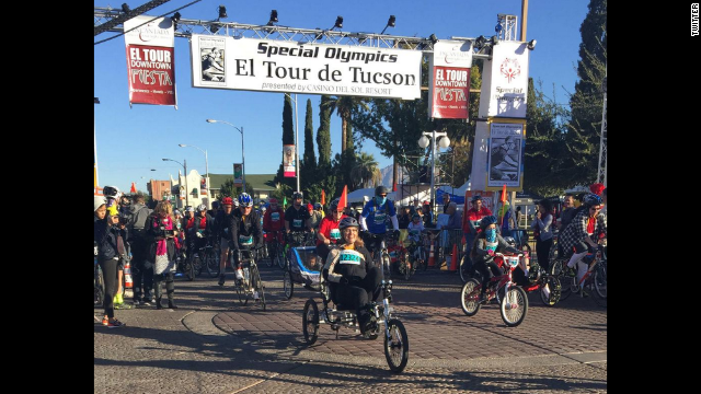 "Giffords completed an 11-mile cycling event on November 22, marking another milestone in her recovery from a 2011 mass shooting, tweeting ""Kicking off 11 miles in El Tour de Tucson. Beautiful day for a bike ride!"""