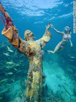 Sitting seven meters below the water surface, Christ of the Abyss is located in Key Largo, Florida. It's visible to swimmers but for a detailed look at the carvings it's easiest to slap on some scuba diving gear.