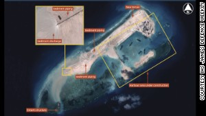 China building island in disputed waters?